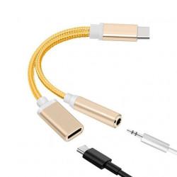 Adaptateur USB Type C vers câble Audio Jack pour écouteurs + USB C